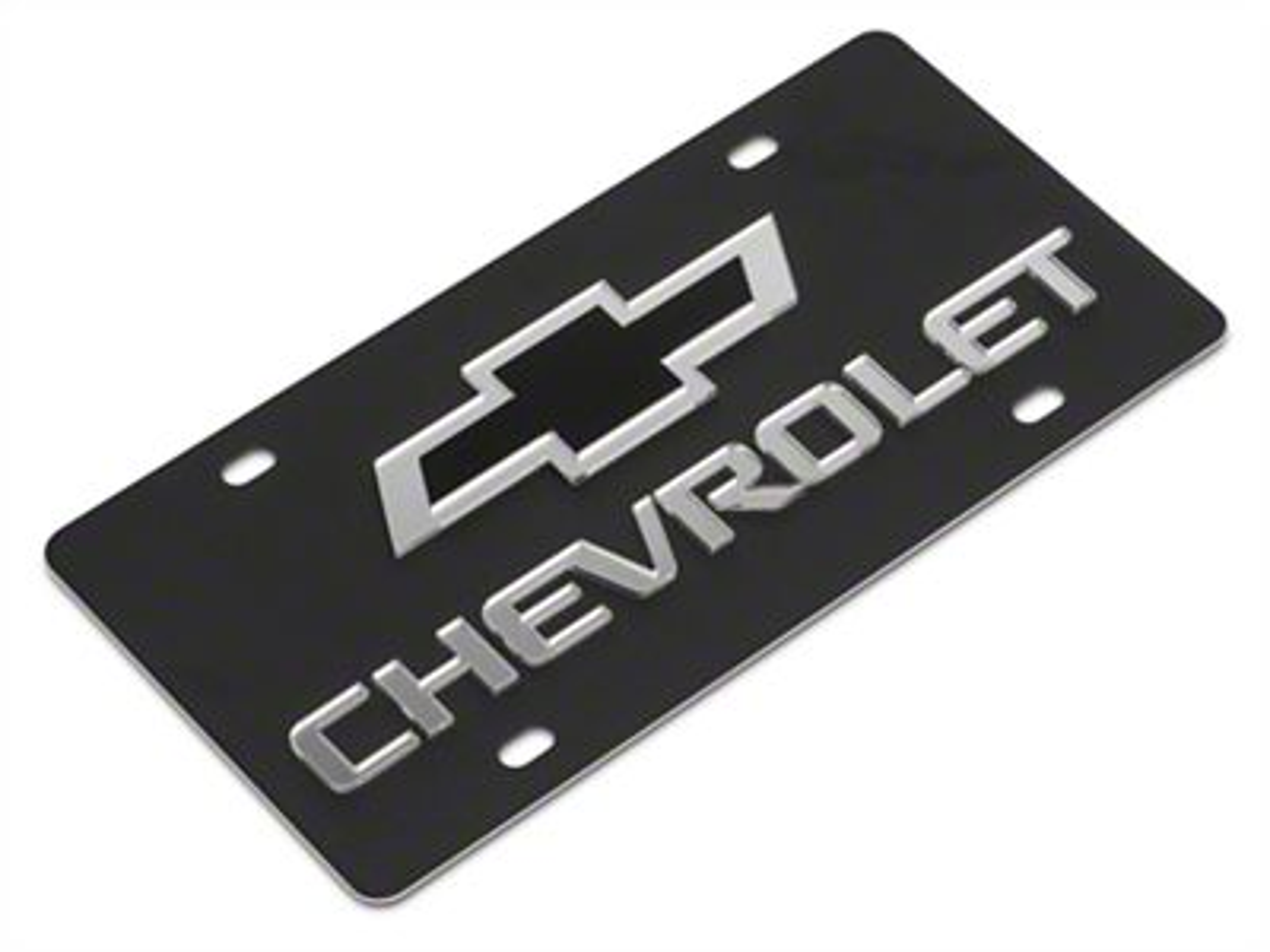 SpeedForm Carbon Steel License Plate w/ Black Bowtie Chervolet Logo (99-18 Silverado 1500)