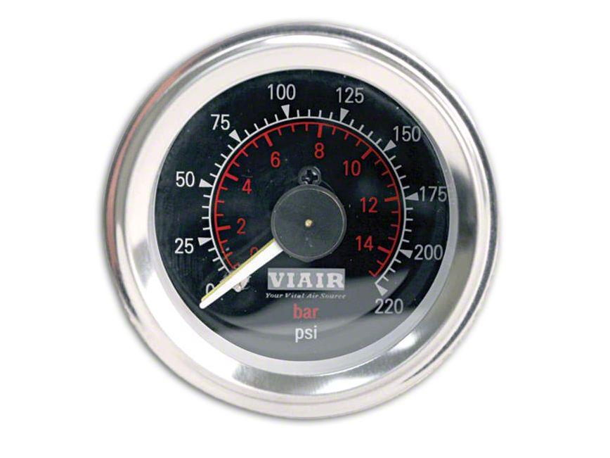 Viair Dual Needle Air Pressure Gauge - Black Face (99-18 Silverado 1500)