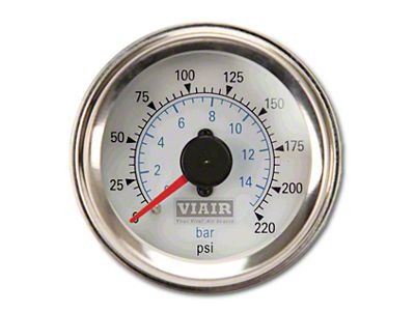 Viair Dual Needle Air Pressure Gauge - White Face (99-18 Silverado 1500)