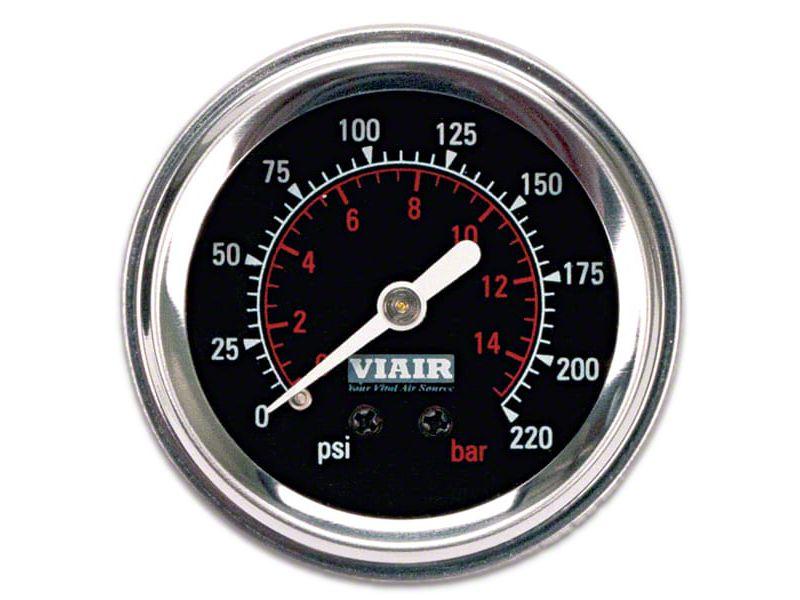 Viair Single Needle Air Pressure Gauge - Black Face