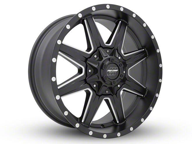 Pro Comp Quick 8 Satin Black Milled 6-Lug Wheel - 20x9 (99-18 Silverado 1500)