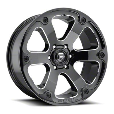 Fuel Wheels Beast Gloss Black Milled 6-Lug Wheel - 17x9 (99-18 Silverado 1500)