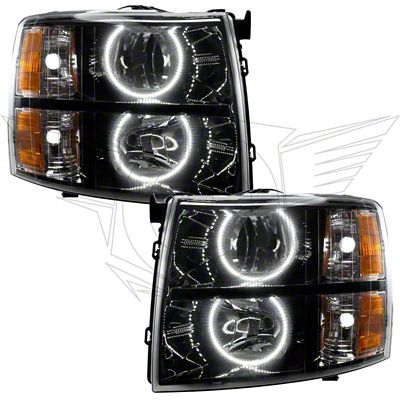 Oracle Black OE Style Headlights w/ Round Ring CCFL Halos (07-13 Silverado 1500)