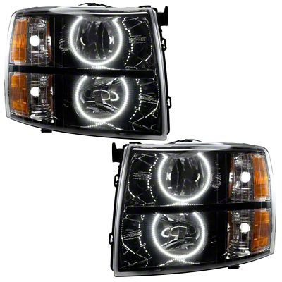 Oracle Black OE Style Headlights w/ Round Ring LED Halos (07-13 Silverado 1500)