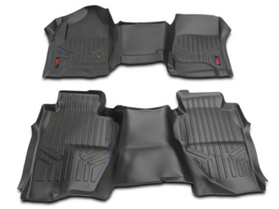 Rough Country Heavy Duty Front & Rear Floor Mats - Black (14-18 Silverado 1500 Double Cab)