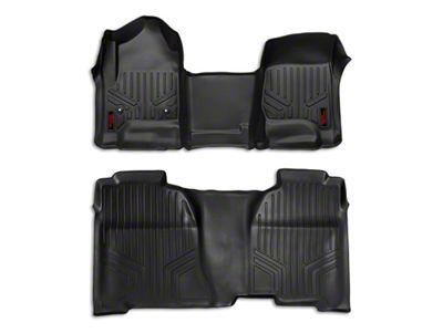 Rough Country Heavy Duty Front & Rear Floor Mats - Black (14-18 Silverado 1500 Crew Cab)