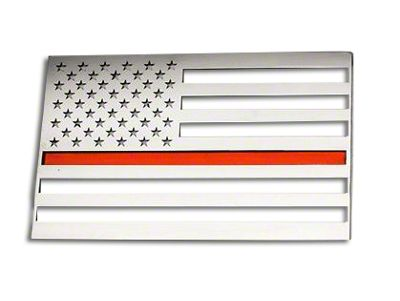 Stainless Steel American Flag Emblem - Polished w/ Thin Red Line (99-19 Silverado 1500)
