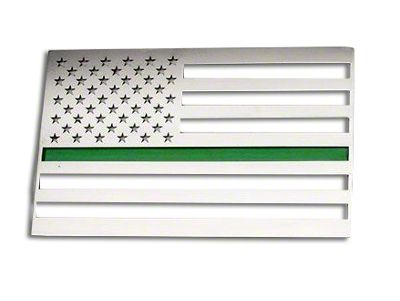 Stainless Steel American Flag Emblem - Polished w/ Thin Green Line (99-19 Silverado 1500)