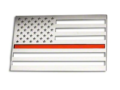 Stainless Steel American Flag Emblem - Brushed w/ Thin Red Line (99-19 Silverado 1500)