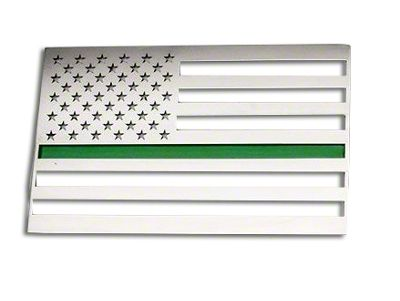 Stainless Steel American Flag Emblem - Brushed w/ Thin Green Line (99-19 Silverado 1500)