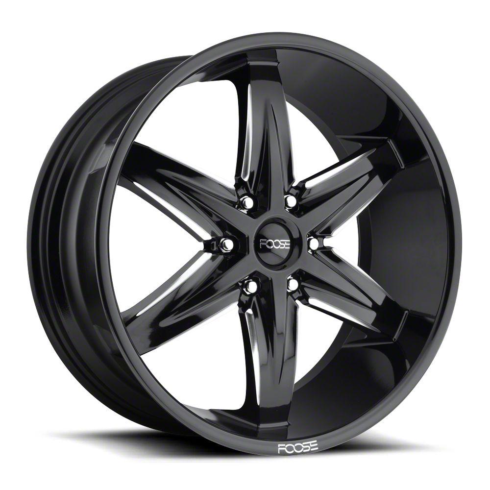 Foose Slider Gloss Black Milled 6-Lug Wheel - 22x9.5 (99-18 Silverado 1500)