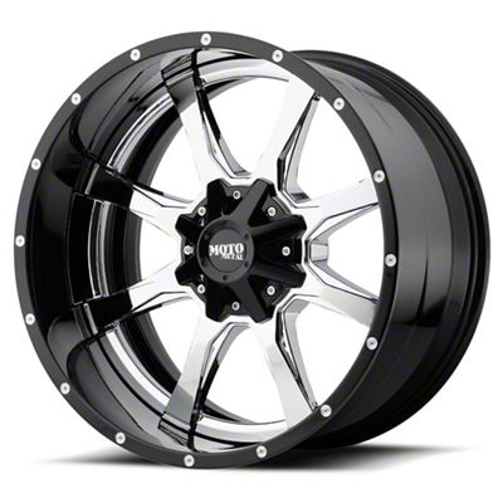 Moto Metal MO201 Chrome w/ Gloss Black Milled Lip 6-Lug Wheel - 22x12 (99-19 Silverado 1500)