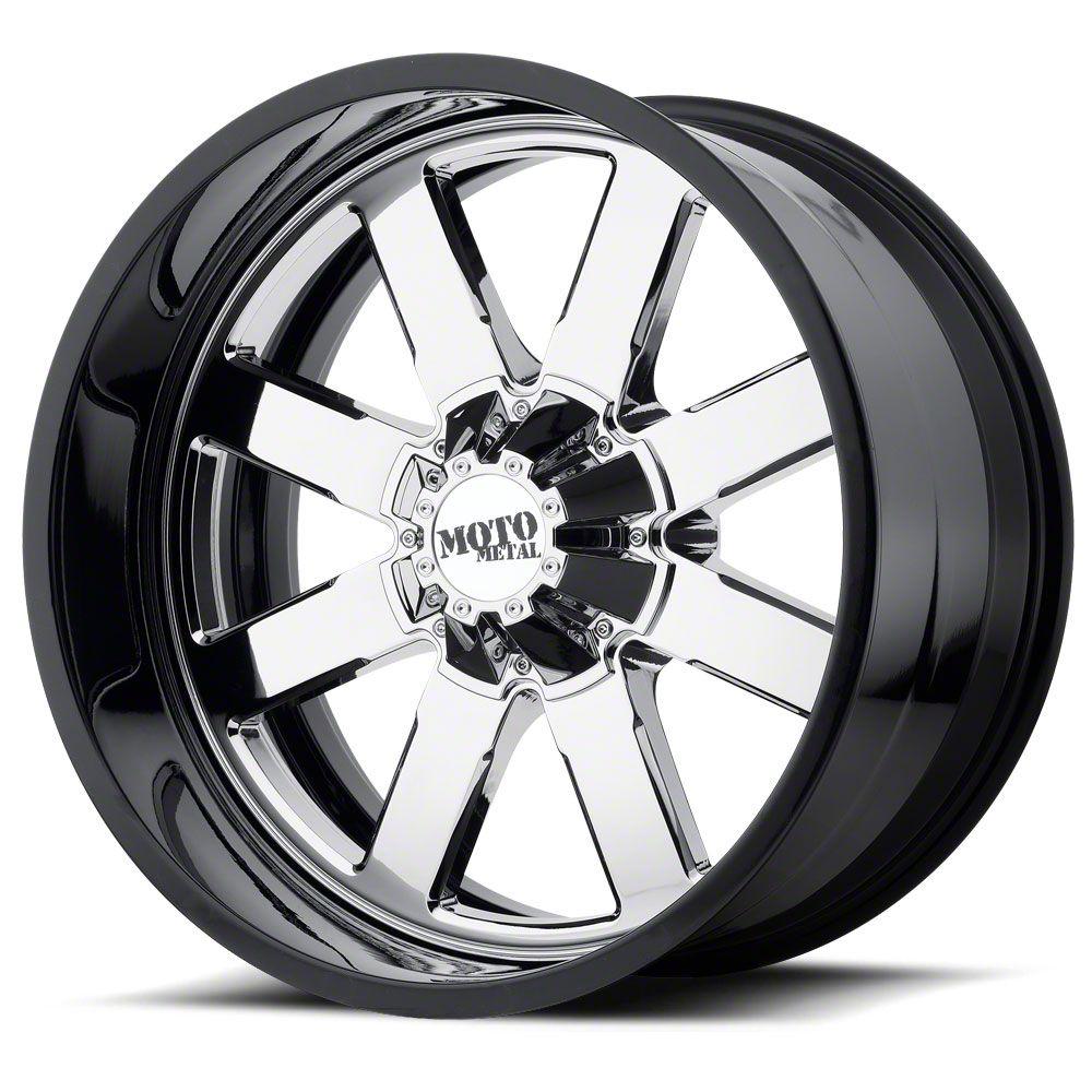 Moto Metal MO200 Chrome w/ Gloss Black Milled Lip 6-Lug Wheel - 20x12 (99-19 Silverado 1500)