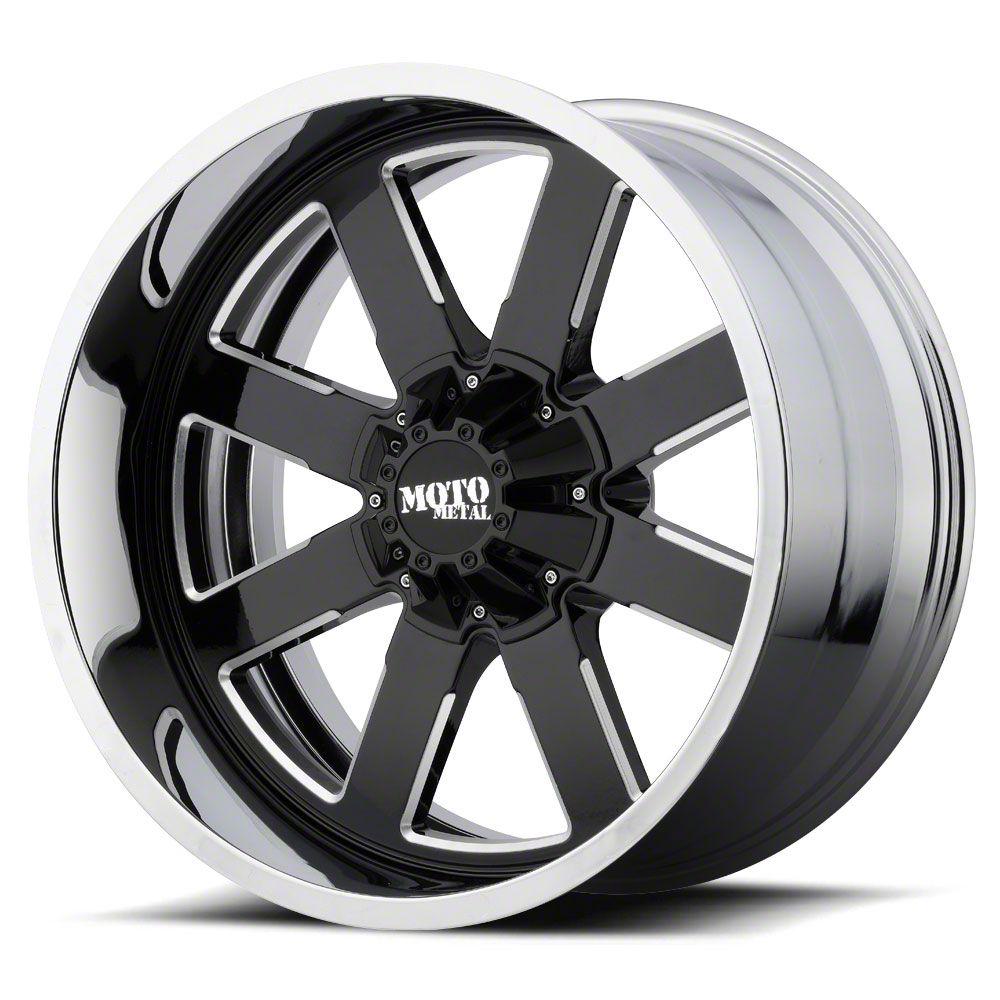 Moto Metal MO200 Gloss Black Milled w/ Chrome Lip 6-Lug Wheel - 22x10 (99-19 Silverado 1500)