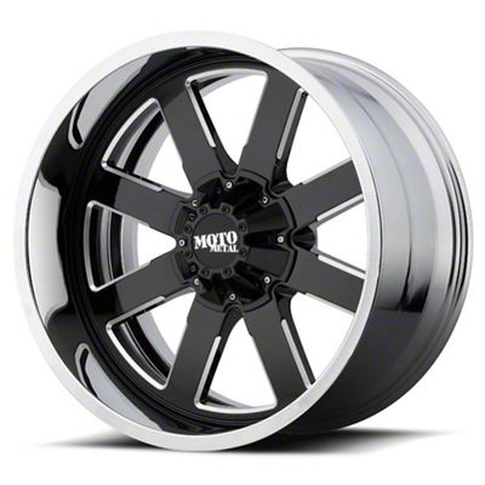 Moto Metal MO200 Gloss Black Milled w/ Chrome Lip 6-Lug Wheel - 22x12 (99-19 Silverado 1500)