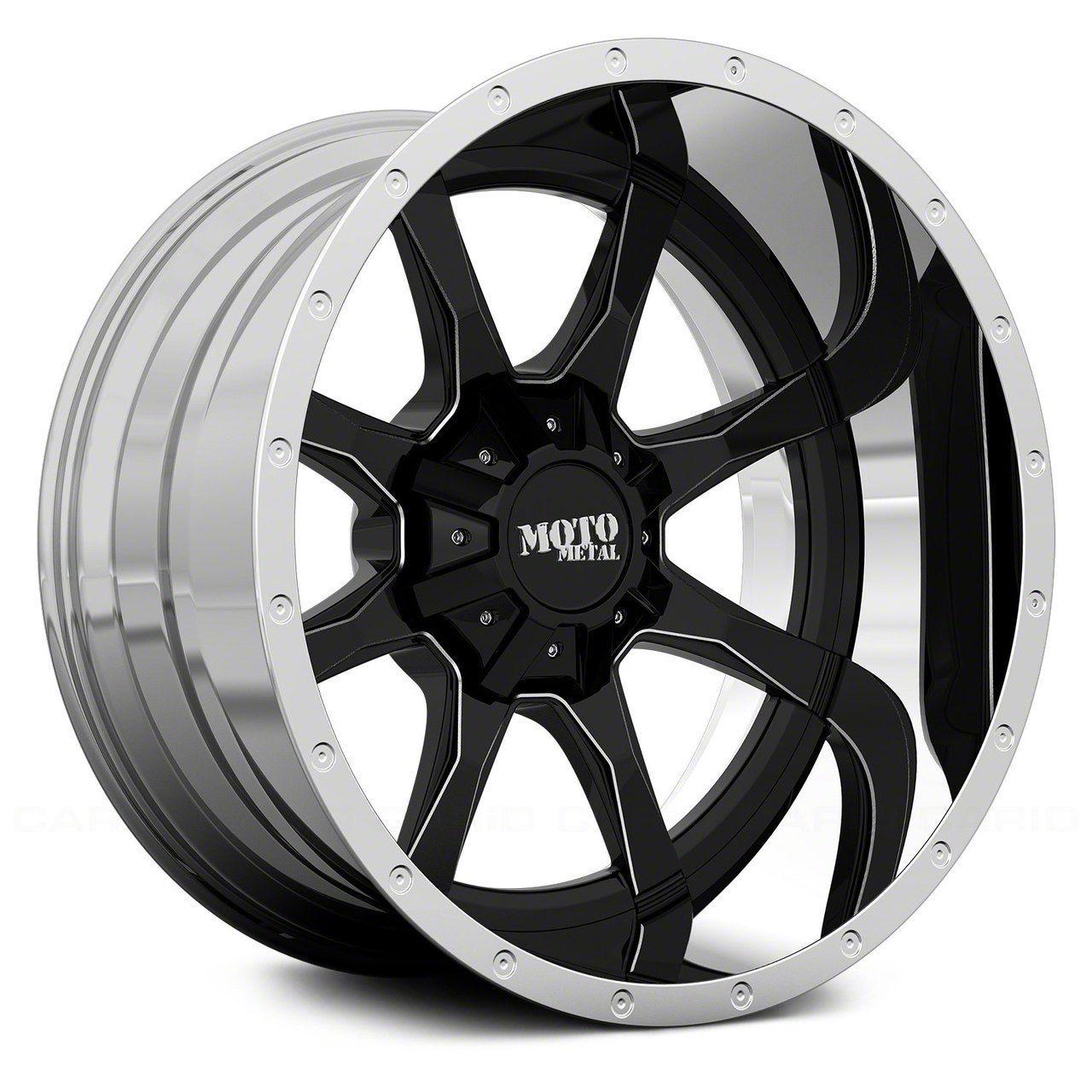 Moto Metal MO201 Gloss Black Milled w/ Chrome Lip 6-Lug Wheel - 20x12 (99-19 Silverado 1500)