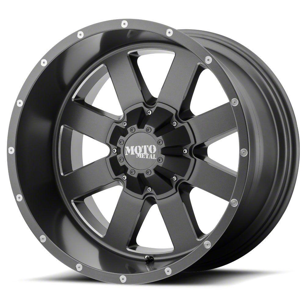 Moto Metal MO962 Satin Gray Milled 6-Lug Wheel - 22x14 (99-19 Silverado 1500)