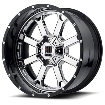 XD Buck 25 Chrome w/ Gloss Black Milled Lip 6-Lug Wheel - 20x10 (99-18 Silverado 1500)