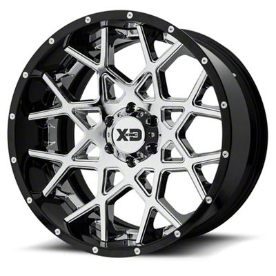 XD Chopstix Chrome w/ Gloss Black Milled Lip 6-Lug Wheel - 22x10 (99-18 Silverado 1500)