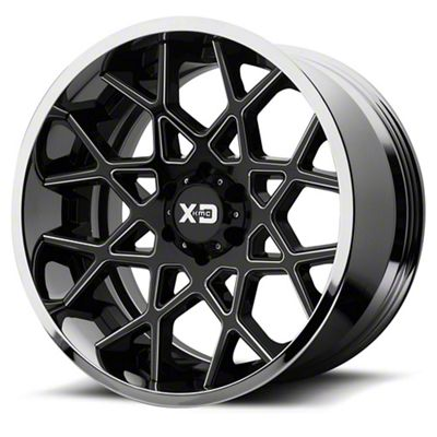 XD Chopstix Gloss Black Milled w/ Chrome Lip 6-Lug Wheel - 22x12 (99-18 Silverado 1500)