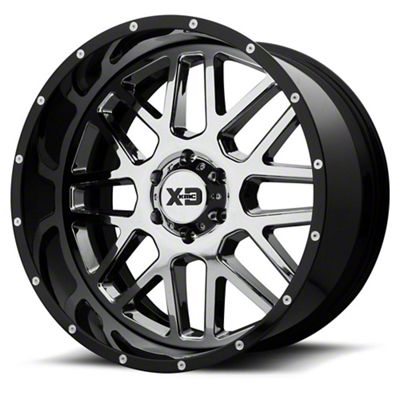 XD Grenade Chrome w/ Gloss Black Milled Lip 6-Lug Wheel - 22x10 (99-18 Silverado 1500)