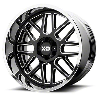 XD Grenade Gloss Black Milled w/ Chrome Lip 6-Lug Wheel - 20x12 (99-18 Silverado 1500)