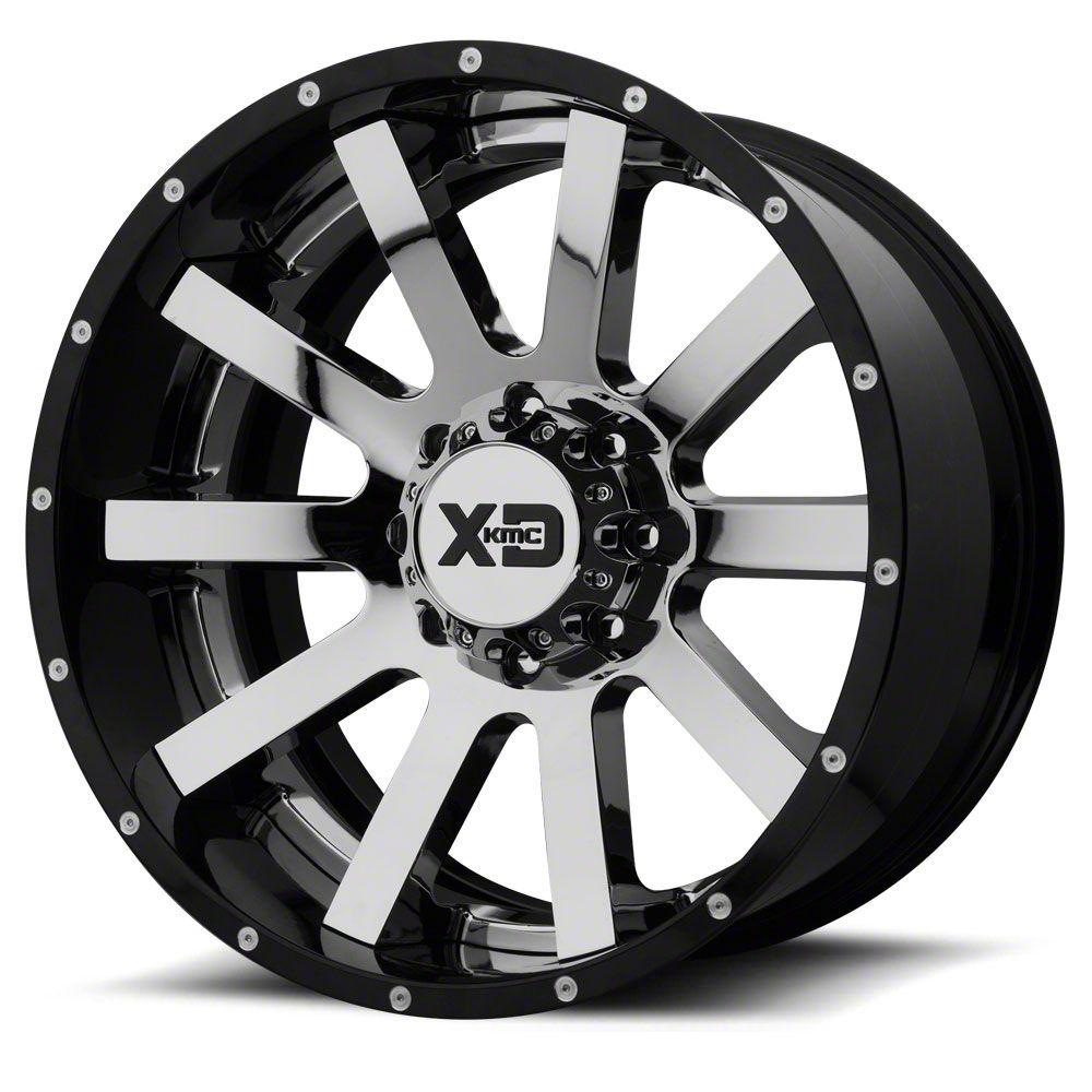 XD Heist Chrome w/ Gloss Black Milled 6-Lug Wheel - 22x12 (99-18 Silverado 1500)
