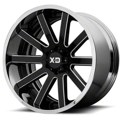 XD Heist Gloss Black Milled w/ Chrome Lip 6-Lug Wheel - 22x12 (99-18 Silverado 1500)