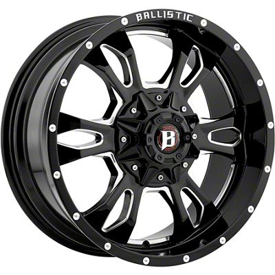 Ballistic Mace Gloss Black Milled 6-Lug Wheel - 17x9 (99-18 Silverado 1500)