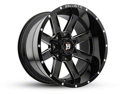Ballistic Rage Gloss Black Milled 6-Lug Wheel - 22x12 (99-18 Silverado 1500)