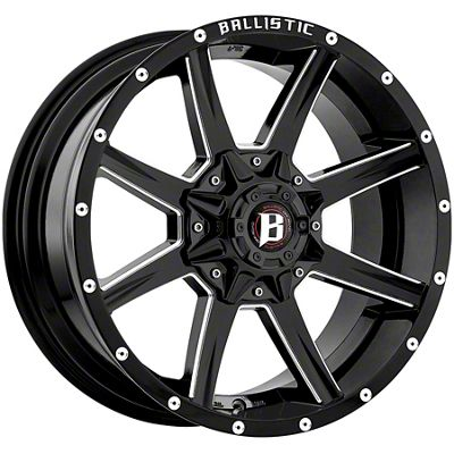 Ballistic Razorback Gloss Black Milled 6-Lug Wheel - 17x9 (99-18 Silverado 1500)