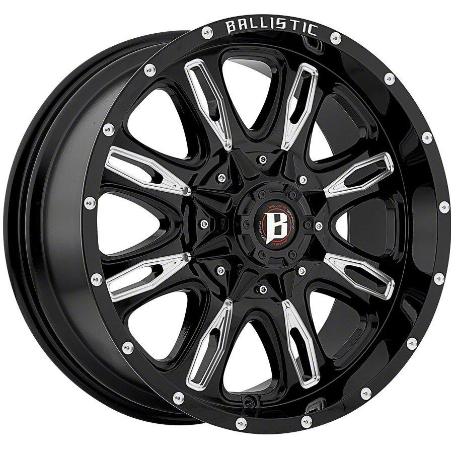 Ballistic Scythe Gloss Black Milled 6-Lug Wheel - 17x9 (99-18 Silverado 1500)