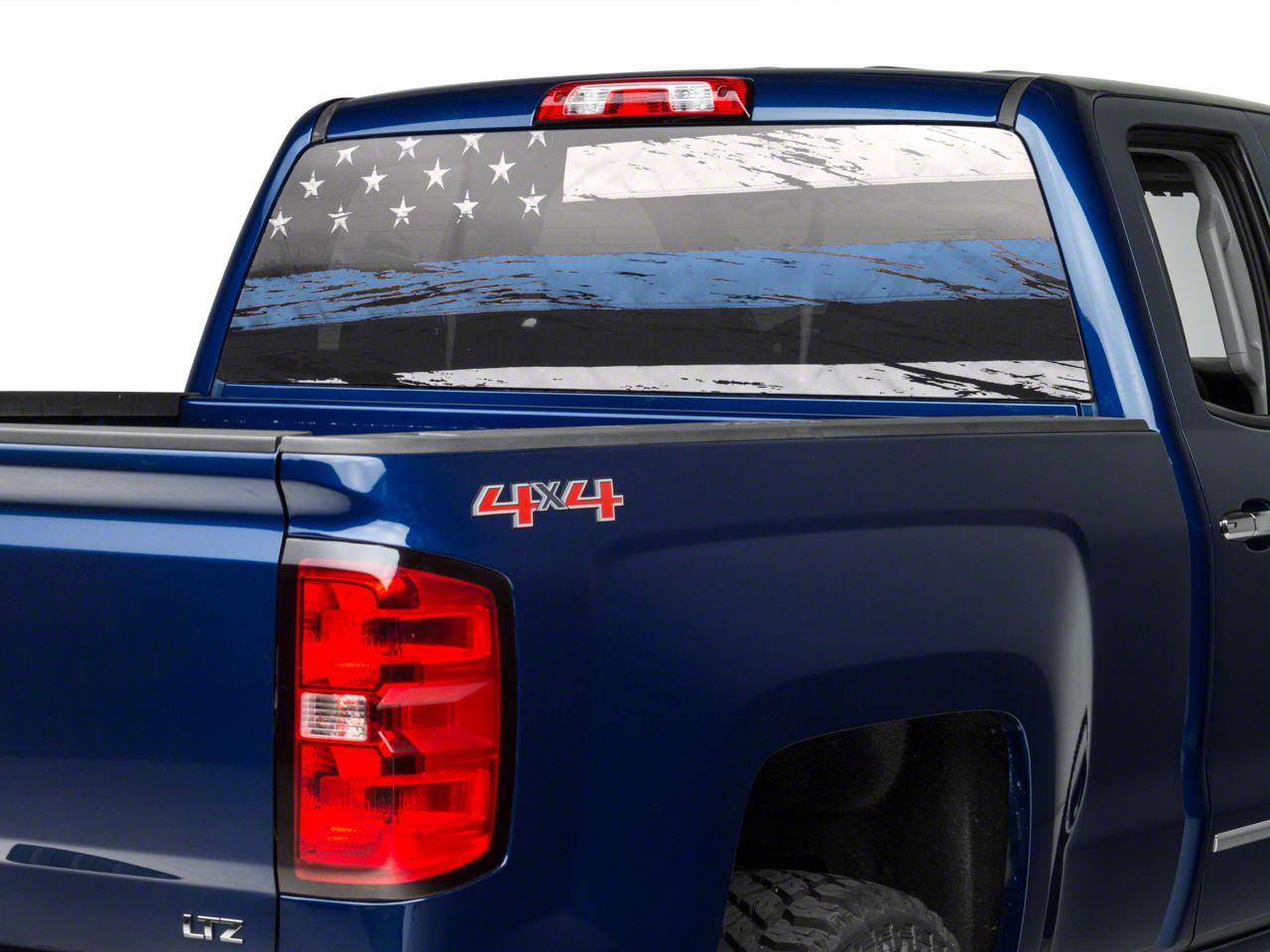 Perforated Real Flag Rear Window Decal w/ Blue Line (99-19 Silverado 1500)