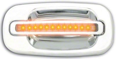 Alteon Rear Chrome Door Handles w/ Amber LED & Clear Lens (04-06 Silverado 1500 Crew Cab)