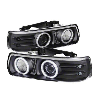 Axial Black Projector Headlights w/ CCFL Halo (99-02 Silverado 1500)