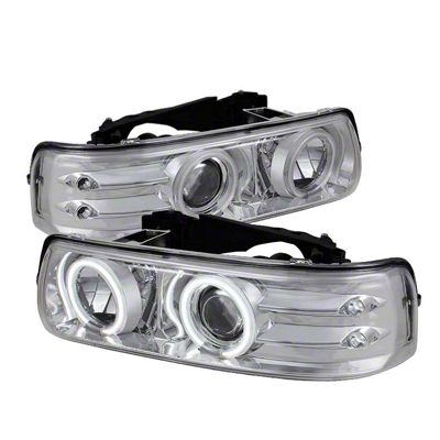 Axial Chrome Projector Headlights w/ CCFL Halo (99-02 Silverado 1500)