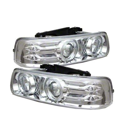 Axial Chrome Projector Headlights w/ LED Halo (99-02 Silverado 1500)