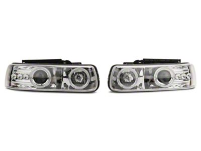 Axial Chrome LED Dual Halo Projector Headlights (99-02 Silverado 1500)