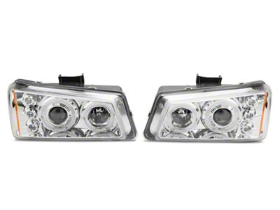 Axial Chrome Dual Halo Projector Headlights w/ LED Lights (03-06 Silverado 1500)