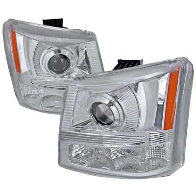 Axial 1-Piece Chrome Projector Headlights & Bumper Lights (03-06 Silverado 1500)