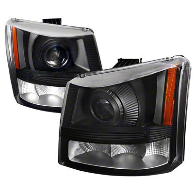 Axial 1-Piece Black Projector Headlights & Bumper Lights (03-06 Silverado 1500)