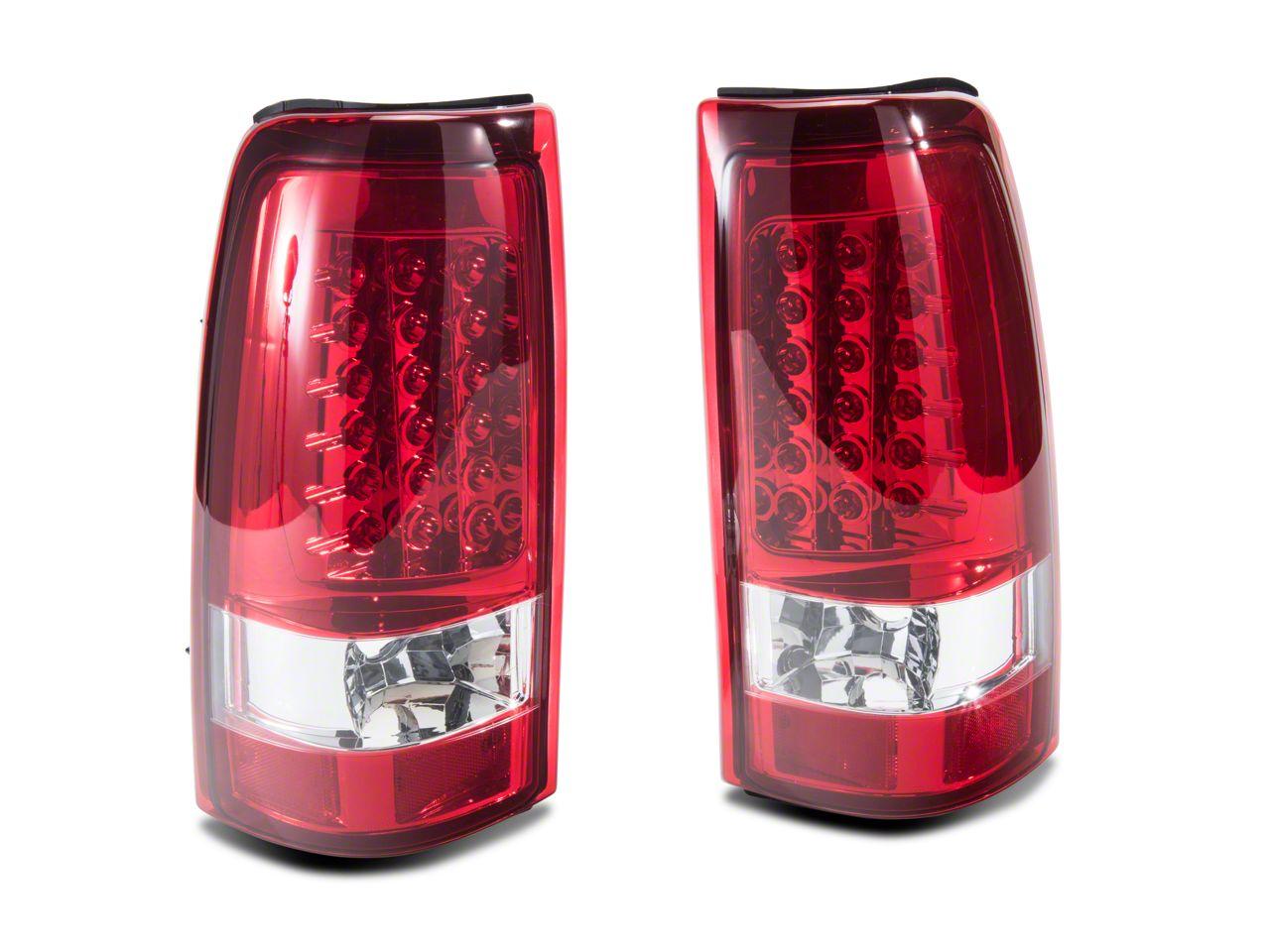 Axial Chrome LED Tail Lights - Red Lens (03-06 Silverado 1500 Fleetside)