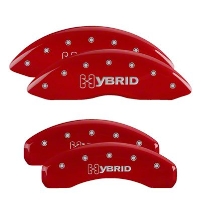 MGP Red Caliper Covers w/ Hybrid Logo - Front & Rear (04-06 Silverado 1500 Hybrid w/ Dual Piston Rear Caliper)