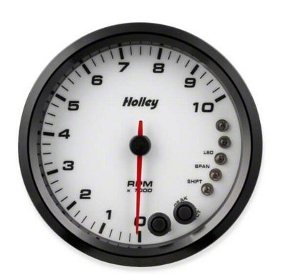Holley Performance 4.5 in. Analog-Style 0-10K Tachometer - White (99-18 Silverado 1500)