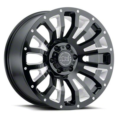 Black Rhino Pinatubo Gloss Black Milled 6-Lug Wheel - 22x12 (99-18 Silverado 1500)