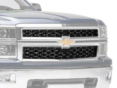 Rough Country Mesh Upper Grille Inserts - Black (14-15 Silverado 1500)