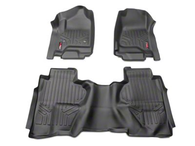 Rough Country Heavy Duty Front & Rear Floor Mats - Black (14-18 Silverado 1500 Double Cab, Crew Cab)
