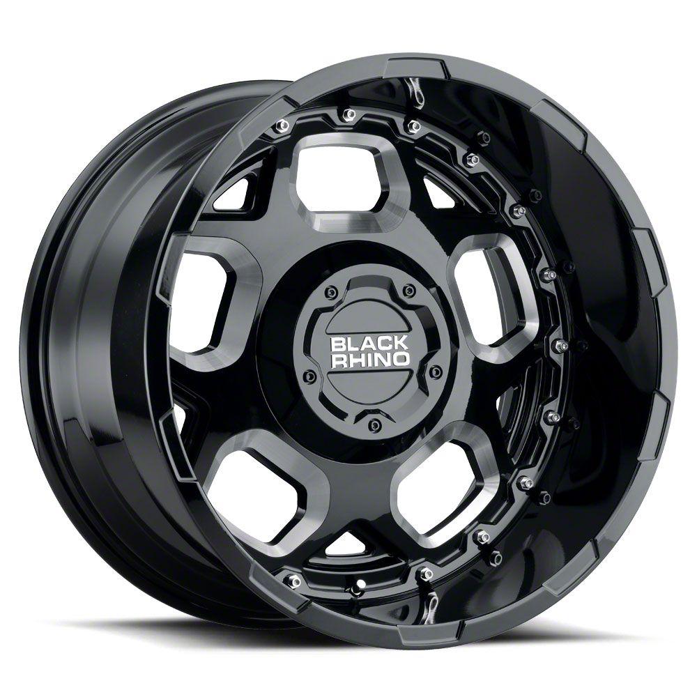 Black Rhino Gusset Gloss Black Milled 6-Lug Wheel - 18x9.5 (99-19 Silverado 1500)