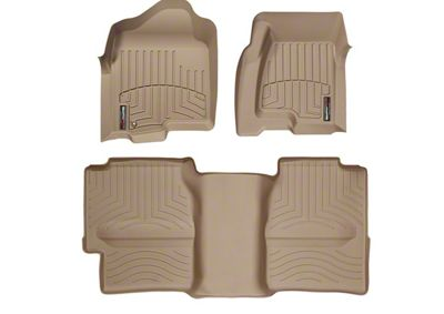 Weathertech DigitalFit Front & Rear Floor Liners w/ Underseat Coverage - Tan (99-06 Silverado 1500 Extended Cab)