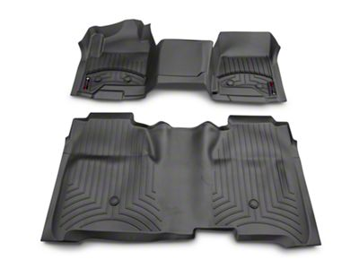 Weathertech DigitalFit Front & Rear Floor Liners - Over The Hump - Black (14-18 Silverado 1500 Crew Cab w/ Vinyl Floors)